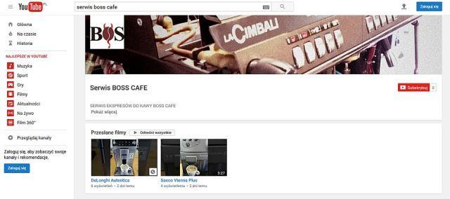 Profil serwisu do kawy na youtube